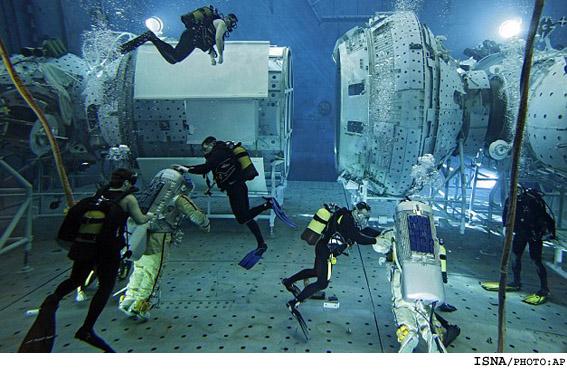 آموزش فضانوردی در زیر استخر! +عکس