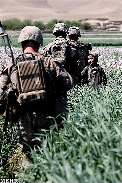 سربازان آمریکایی در مزارع خشخاش افغانستان