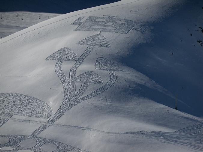 نقاشی روی برف,هنرنمایی برفی
