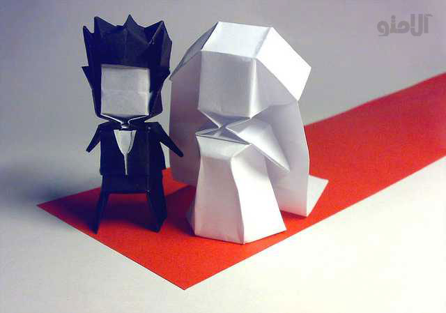 Groom-Bride-Beautiful-3D-Origami-by-Jaroslav-Mishchenko