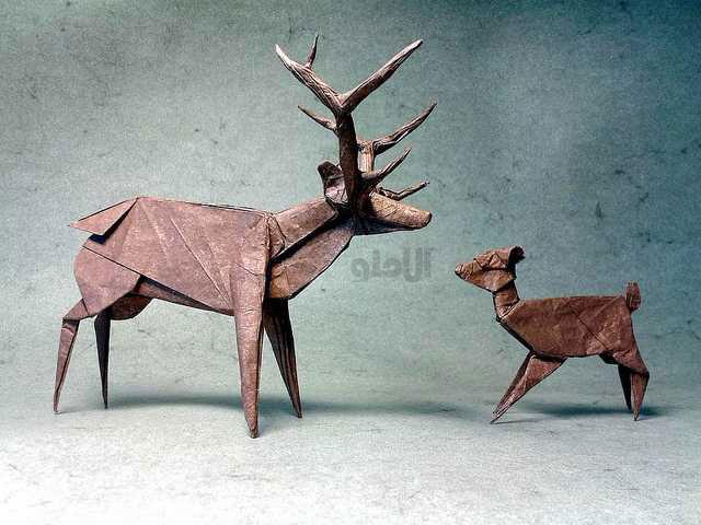 Roosevelt-Elk-Fawn-Beautiful-3D-Origami-by-Jaroslav-Mishchenko