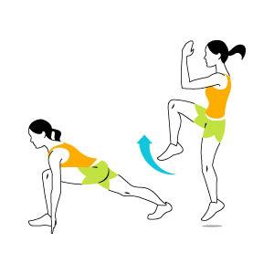 حرکت ورزشی کالری سوز,حرکت دو سرعتی با پرتاب زانو
