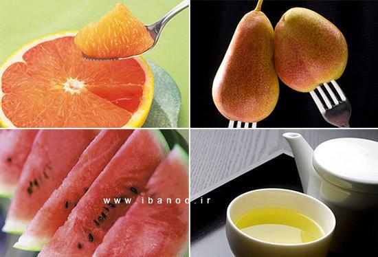 مبارزه با چربی شکم,چای سبز- گریپ فروت- سیب و گلابی-هندوانه