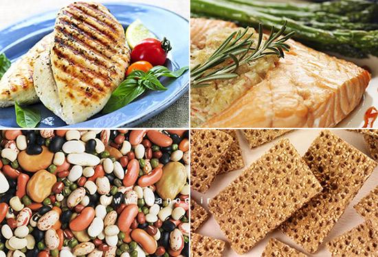 مبارزه با چربی شکم,ماهی - لوبیا- گوشت - بیسکوییت گنذم کامل