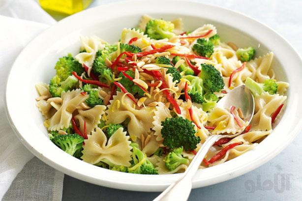 طرز تهیه پاستای بروکلی,Broccoli-almond-lemon-farfalle