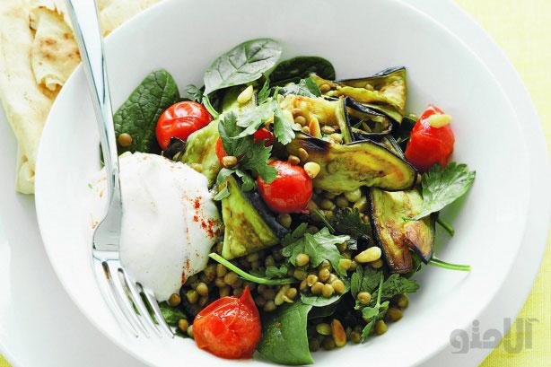 انواع سالاد با بادمجان eggplant-and-lentil-salad-with-yoghurt-dressing
