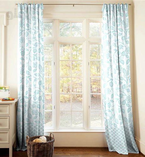 White and grey curtains