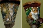نقاشیهای شگفتانگیز روی پر بوقلمون