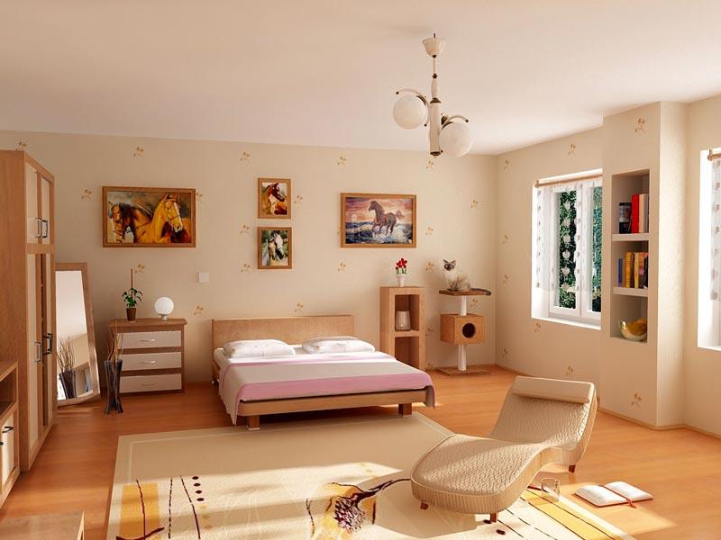 اتاق خواب همراه با تخت و کاتاپه