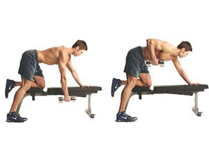 تمرین زیر بغل دمبل تک خم
