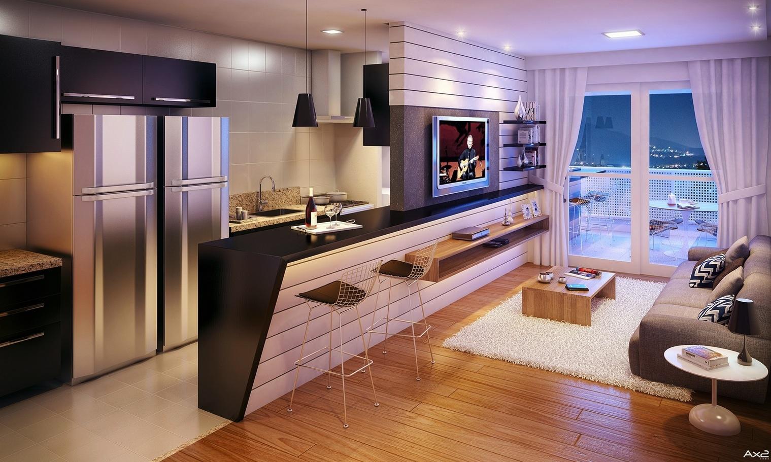 دکور آشپزخانه همراه با مبل راحتی