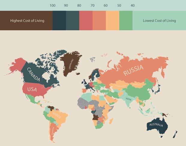 ارزان ترین و گرانقیمتترین کشورهای جهان