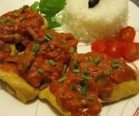 طرز تهیه خوراک مرغ هندی با سس گوجه