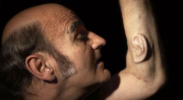 مرد با دو گوش بر روی بازویش