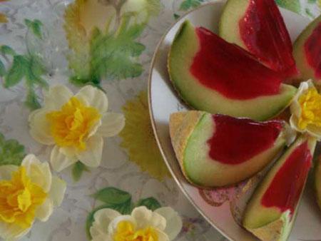 تزیین ژله در پوست میوه,تزیین ژله در هندوانه