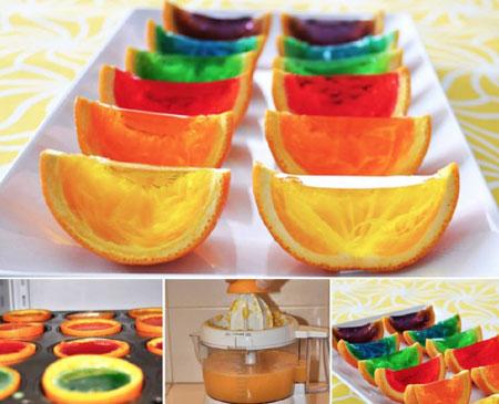 تصاویر تزیینات ژله در پوست میوه،مدل تزیین ژله در پوست پرتقال