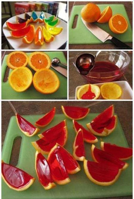 نحوه تزیین ژله در پوست پرتقال،تزیین ژله در پوست میوه