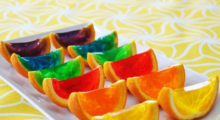 مراحل تزیین ژله در پوست پرتقال،تزیین ژله در پوست میوه