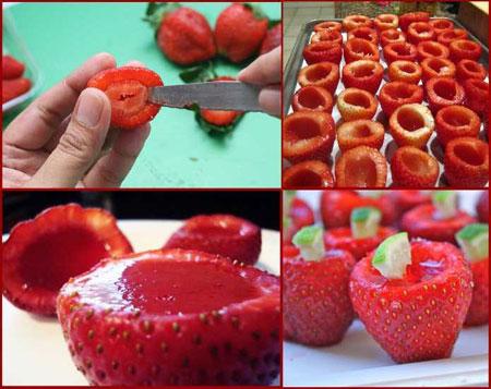 تصاویر تزیین ژله در پوست میوه,تزیین ژله در توت فرنگی