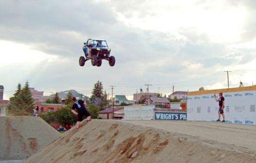 Tanner Godfrey jumping a UTV