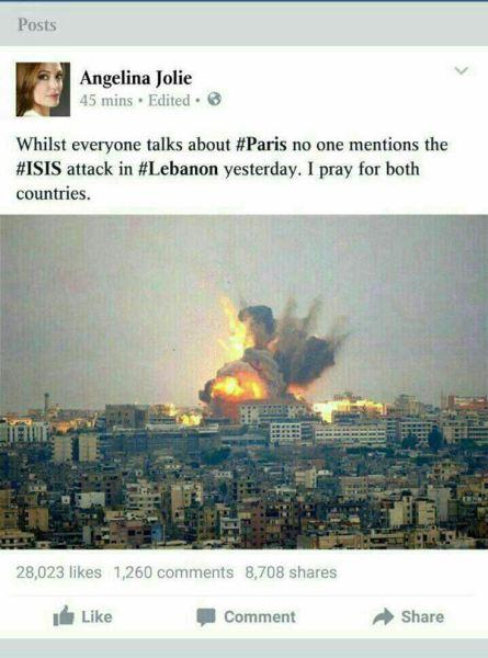 واکنش آنجلینا جولی به حملات پاریس