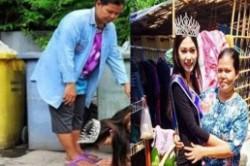 ملکه زیبایی تایلند، پای مادرش را بوسید!+عکس