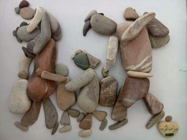 هنرنمایی با سنگ - هنرمند سوری