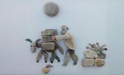 هنرنمایی با سنگ برای نمایش رنج و سختی!