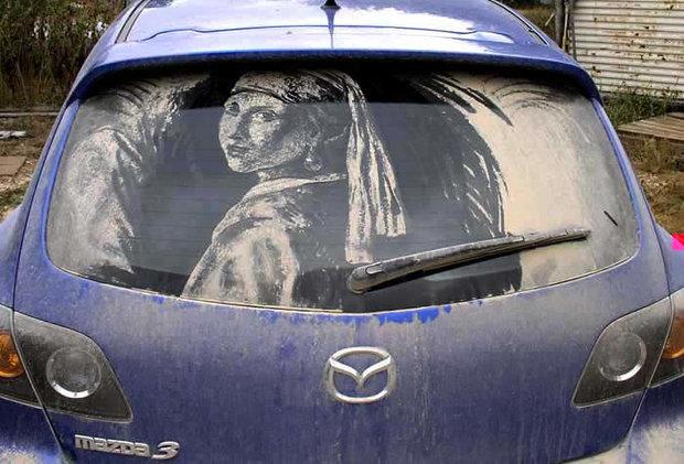 هنرنمایی روی ماشین کثیف