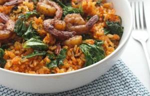 طرز تهیه برنج اسپانیایی تند با میگو