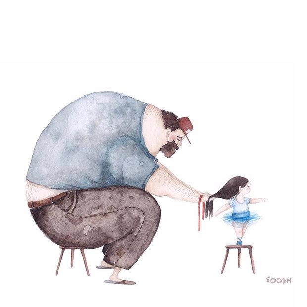 نقاشی روز پدر و دختر
