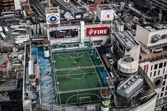 زمین فوتبال عجیب در ژاپن