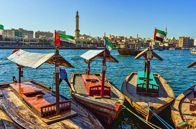 جاهای دیدنی دبی,جاذبه گردشگری شهر دبی - خور دبی-uae-dubai-dubai-creek-boats-at-the-creek-wharf