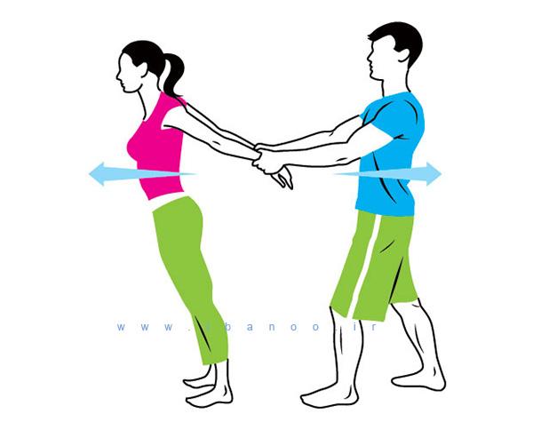 حرکات کششی دو نفره,cuople-stretch-3